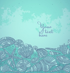 Decorative background with beautiful seashells vector