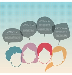 Group of people with colorful dialog speech bubble vector