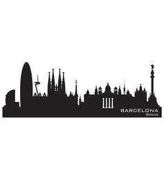 Barcelona spain skyline detailed silhouette vector