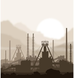 Fertilizers plant over blurred huge mountains vector