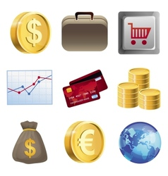 Collection with bright finance icons vector