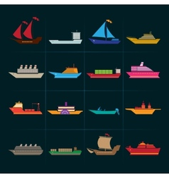 Ship and boats icons set vector