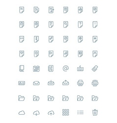Thin line document icons set for web and mobile vector