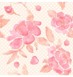Watercolor seamless wallpaper with peony flowers vector