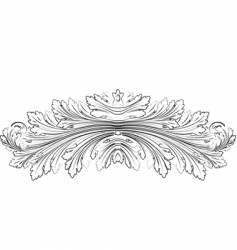 Baroque leafs rosette calligraphy style vector