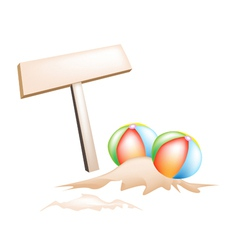 Beach balls and wooden placard vector