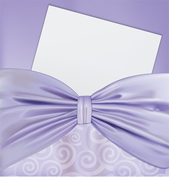 Background with a bow and a blanks white paper vector
