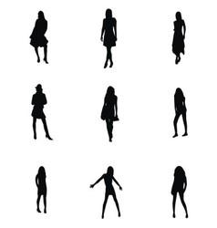 Girl silhouette set vector