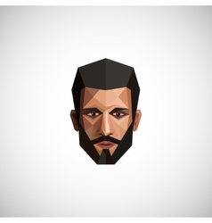 With a male face in origami style vector