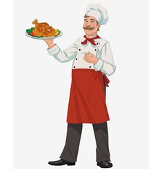 Chef with chicken vector
