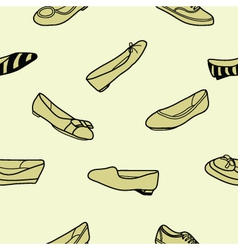 Seamless of female flat shoes vector