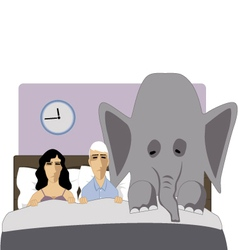 Elephant in the bedroom vector