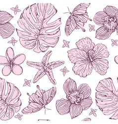 Seamless pattern tropical flowers vector