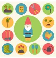 Gardening garden icons set vector