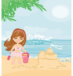 Little girl at tropical beach making sand castle vector