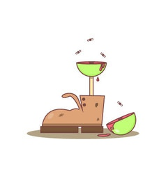 Isolated cartoon old boots and meat tree vector