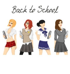 Fashionable school girl pack vector