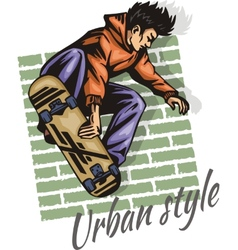 Jump on a skateboard - color vector