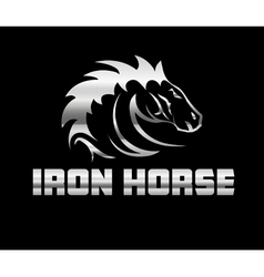 Head of agreesive iron horse vector