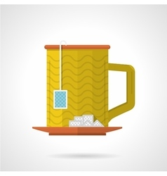 Yellow tea cup flat color icon vector
