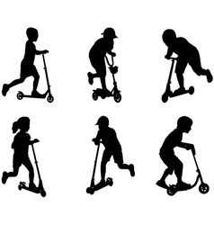 Children with scooter vector