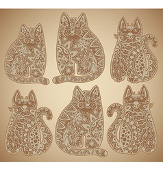 Funny cats with floral ornament vector