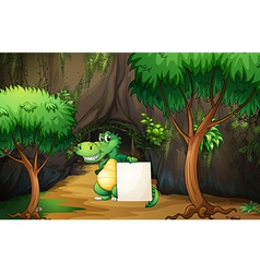 A crocodile holding an empty paper outside the vector