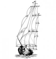 Vintage sailboat sketch vector