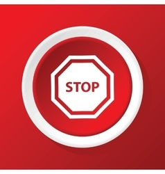 Stop sign icon on red vector