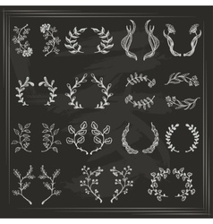 Collection of wreaths on dark background vector