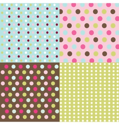 Seamless patterns - polka dot set vector