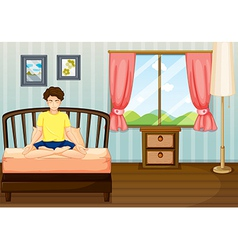 A man performing yoga inside his room vector