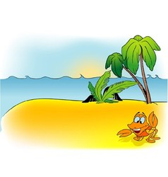 Island and crab vector