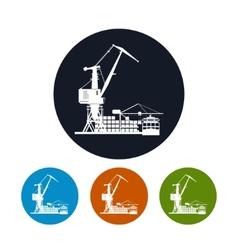 Cargo container ship with cargo crane vector
