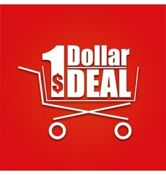 Dollar deal poster with a basket vector