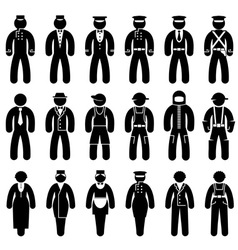 Peoples uniforms icons vector