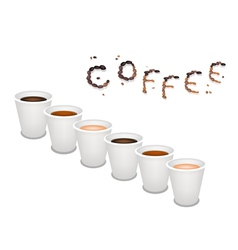 Six kind of coffee in disposable cup vector