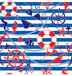 Seamless nautical pattern on striped background vector