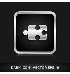 Puzzle icon silver metal vector