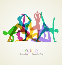 Yoga poses womans silhouette vector