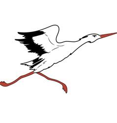 White stork in flight vector