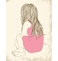 Little girl in a pink dress sitting vector