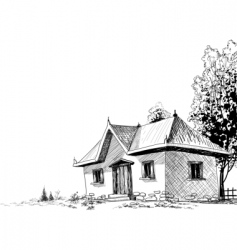 Old house sketch vector