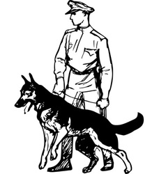 Frontier guard with dog vector