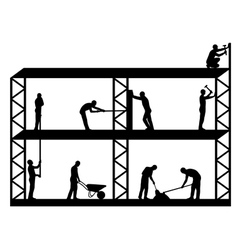 Workers on scaffold vector