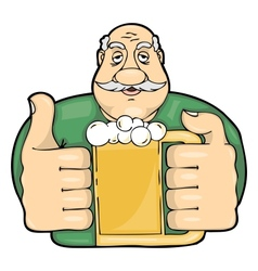 Mustachioed man with a glass of beer vector