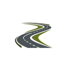 Winding paved road or highway icon vector