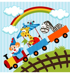 Clown and animals traveling train vector