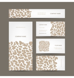 Set of business cards design animal print vector