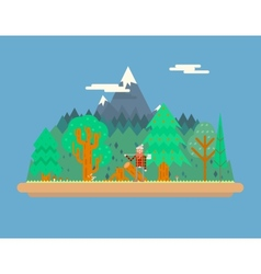 Lumberjack in wood under mountain concept vector
